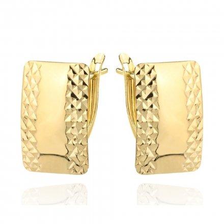 Biżuteria SAXO Kolczyki Złote prostokąty szerokie diamentowane 7-25-K00605-1.81