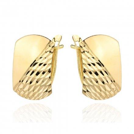 Biżuteria SAXO Kolczyki Złote prostokąty szerokie diamentowane 7-25-K00606-1.97