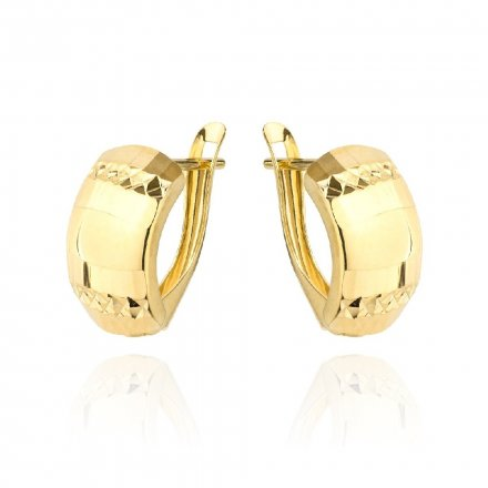 Biżuteria SAXO Kolczyki Złote prostokąty szerokie diamentowane 7-25-K00607-1.57