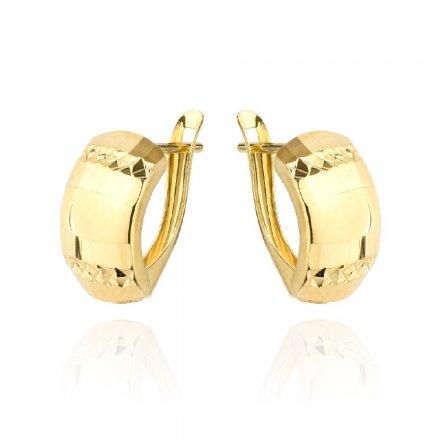 Biżuteria SAXO Kolczyki Złote prostokąty szerokie diamentowane 7-25-K00607-1.61