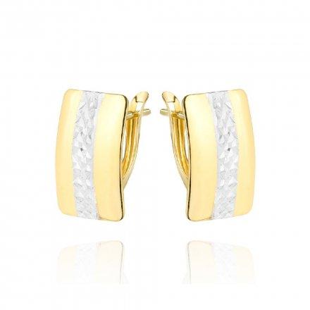 Biżuteria SAXO Kolczyki Złote prostokąty z białym złotem diamentowane 7-25-K00608-1.88