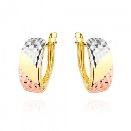 Biżuteria SAXO Kolczyki Złote prostokąty z trzema kolorami złota diamentowane 7-25-K00609-1.58