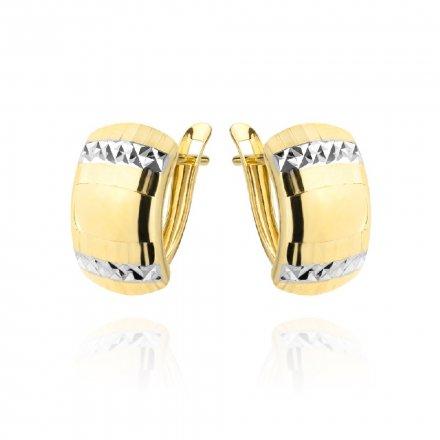 Biżuteria SAXO Kolczyki Złote prostokąty z białym złotem diamentowane 7-25-K00610-1.57