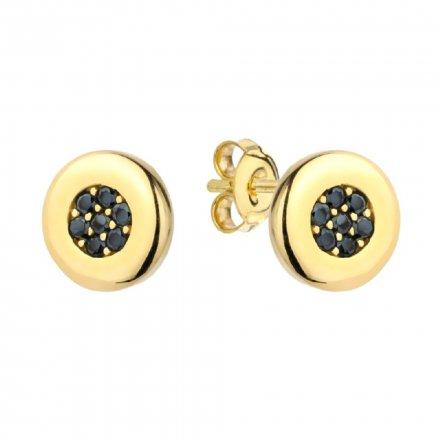 Biżuteria SAXO Kolczyki Złote Ring z czarnymi kamieniami 7-25-K00628-1.37