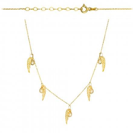 Biżuteria SAXO Naszyjnik damski  złoty  ze skrzydłami Anioła i cyrkoniami 3-4-CN00094-2.55