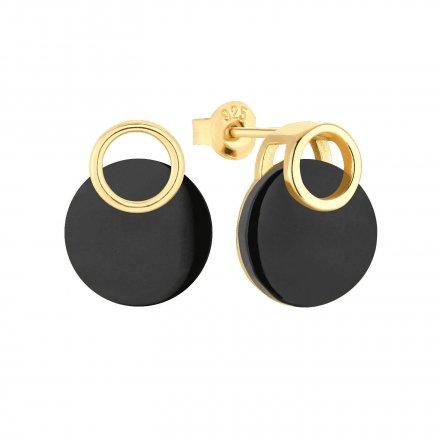 Kolczyki złote pozłacane z onyksem Biżuteria Ditta Zimmermann DZK260/ONX/Z