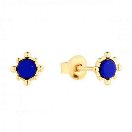 Kolczyki srebrne pozłacane  z lapis lazuli Biżuteria Ditta Zimmermann DZK427/LL/Z