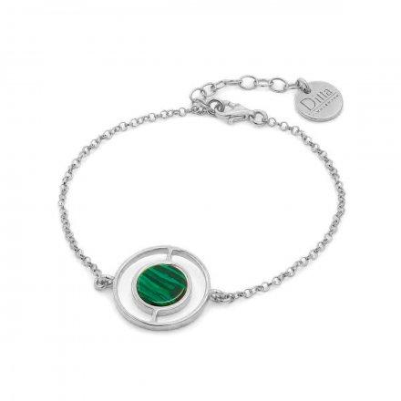 Bransoletka srebrna z malachit Biżuteria Ditta Zimmermann DZB195/MAL/Ł/R