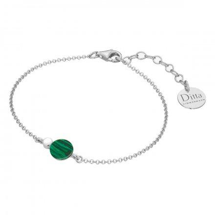 Bransoletka srebrna z malachit Biżuteria Ditta Zimmermann DZB257/MAL/R