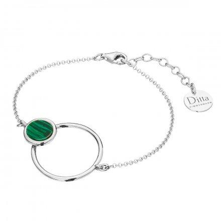 Bransoletka srebrna z malachit Biżuteria Ditta Zimmermann DZB372/MAL/R