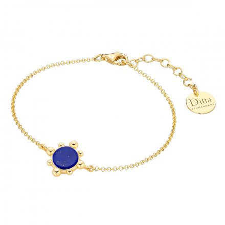 Bransoletka srebrna pozłacana z lapis lazuli Biżuteria Ditta Zimmermann DZB413M/LL/Ł/Z