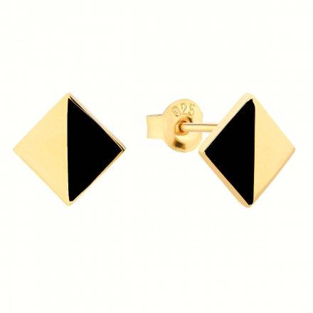 Kolczyki srebrne pozłacane z onyksem Biżuteria Ditta Zimmermann DZK349/ONX/Z