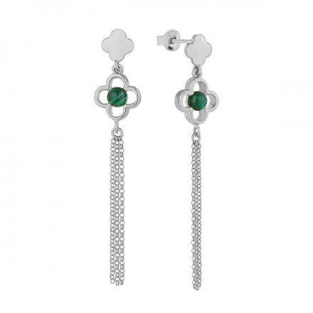 Kolczyki srebrne z malachitem Biżuteria Ditta Zimmermann DZK358/MRC/MAL/R