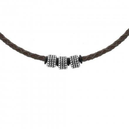 Biżuteria Manoki Skórzany naszyjnik męski WA507A
