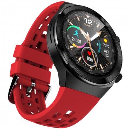 Czarno-czerwony smartwatch męski damski Rubicon RNCE68