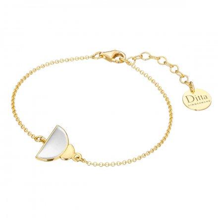 Bransoletka srebrna pozłacana z masą perłową Biżuteria Ditta Zimmermann DZB346/MPB/Z