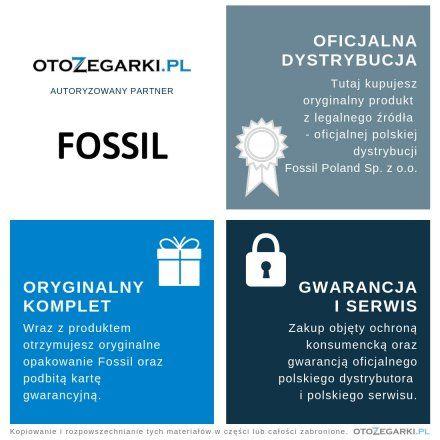 FOSSIL szara skórzana Bransoletka Damska JOF00514791