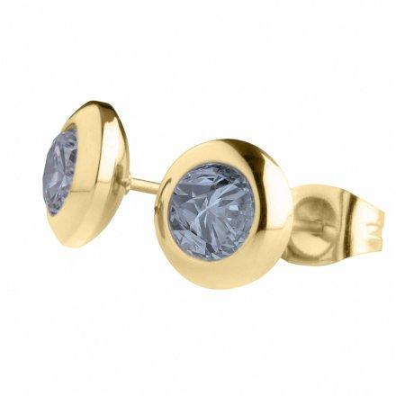 Kolczyki Melano Mabel Friends M01E Złote z niebieskim kryształkiem