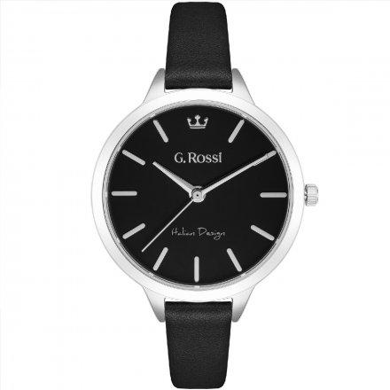 Zegarek G.Rossi srebrny z czarnym paskiem G.R10296A5-1A1