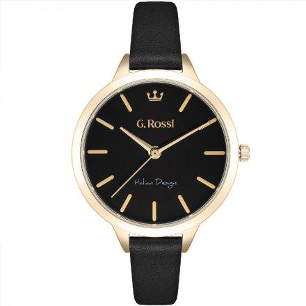 Zegarek G.Rossi złoty z czarnym paskiem G.R10296A5-1A2