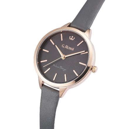 Zegarek G.Rossi różowozłoty z czarnym paskiem G.R10296A5-1B3