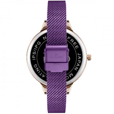 Zegarek damski G.Rossi fioletowy z bransoletką G.R10296B-7G3
