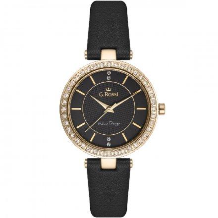 Zegarek G.Rossi złoty z czarnym paskiem G.R10995A2-1A2