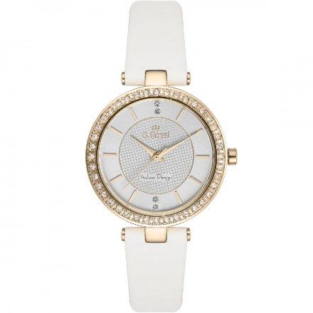Zegarek G.Rossi złoty z białym paskiem G.R10995A2-3C2