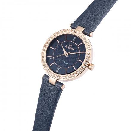 Zegarek G.Rossi złoty z granatowym paskiem G.R10995A2-6F3