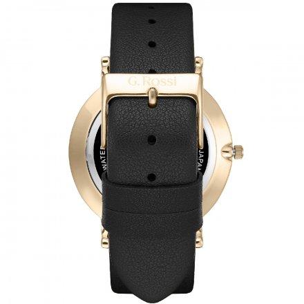 Zegarek G.Rossi złoty z czarnym paskiem G.R11989A6-1A2