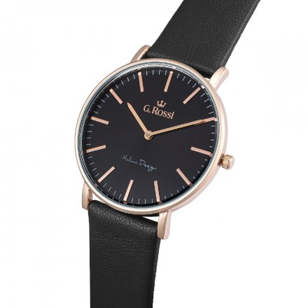 Zegarek G.Rossi różowozłoty z czarnym paskiem G.R11989A6-1A3