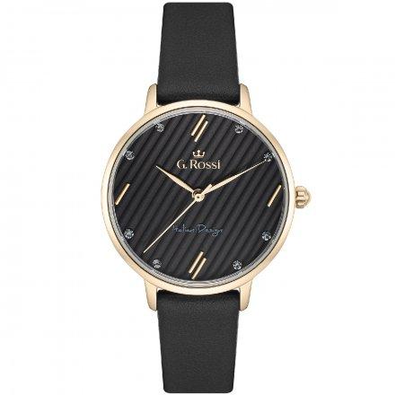 Zegarek G.Rossi złoty z czarnym paskiem G.R12094A-1A3