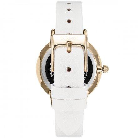 Zegarek G.Rossi złoty z białym paskiem G.R12094A-3C2