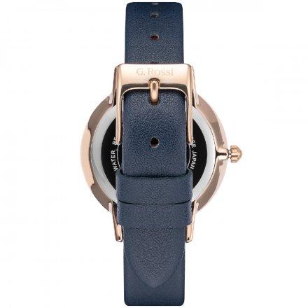 Zegarek G.Rossi złoty z granatowym paskiem G.R12094A-6F3