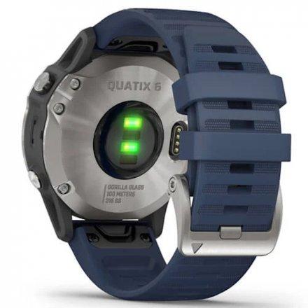Zegarek Garmin Quantix 6 Srebrny z granatowym paskiem 010-02158-91