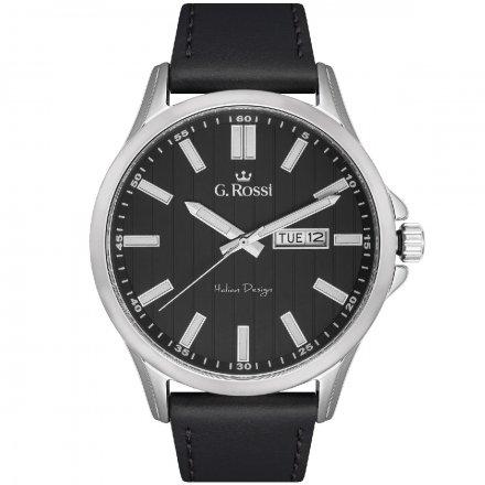 Zegarek G.Rossi srebrny z czarnym paskiem G.R8071A3-1A1