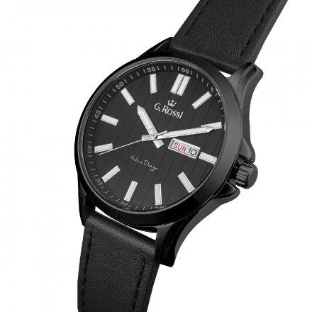 Zegarek G.Rossi srebrny z czarnym paskiem G.R8071A3-1A5
