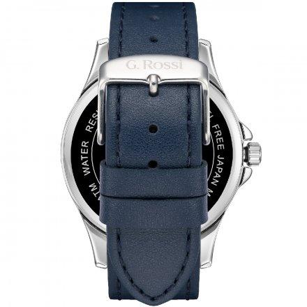 Zegarek G.Rossi srebrny z granatowym paskiem G.R8071A3-6F1