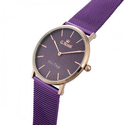 Zegarek damski G.Rossi fioletowy z bransoletką G.R8709B2-7G3